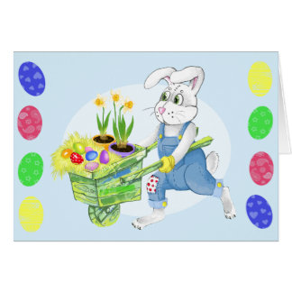 Easter bunny spring garden greeting cards