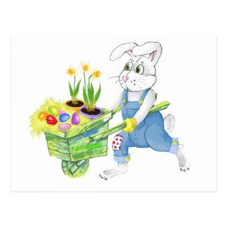 Easter bunny spring garden postcard
