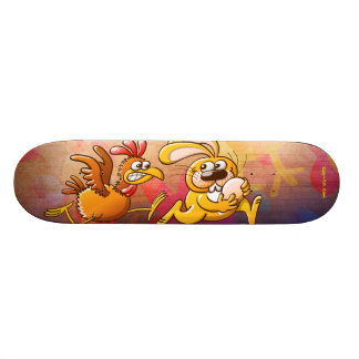 Easter Bunny Stealing an Egg from a Furious Hen 21.6 Cm Old School Skateboard Deck