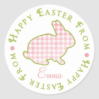 Easter Bunny Stickers- Pink Gingham