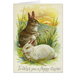 Easter Bunny Sunset Grass Landscape Card