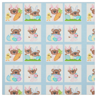 Easter Bunny Teddy Bear Easter Pattern 8 Fabric