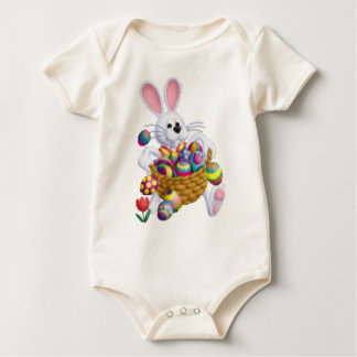 Easter Bunny with Basket of Eggs Baby Bodysuit