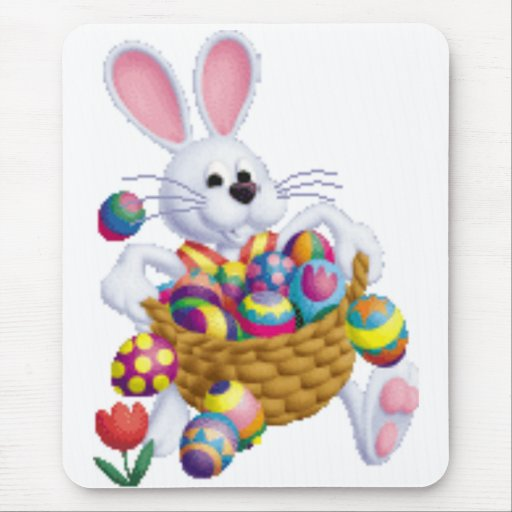Easter Bunny with Basket of Eggs Mouse Pad