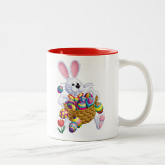 Easter Bunny with Basket of Eggs Two-Tone Coffee Mug