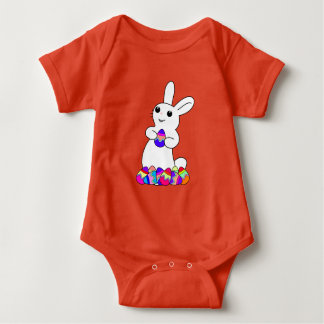 Easter Bunny with Colored Easter Eggs Baby Bodysuit