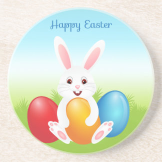 Easter Bunny with Colorful Easter Eggs Beverage Coasters