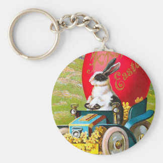Easter Bunny With Cool Car Vintage Floral Key Ring
