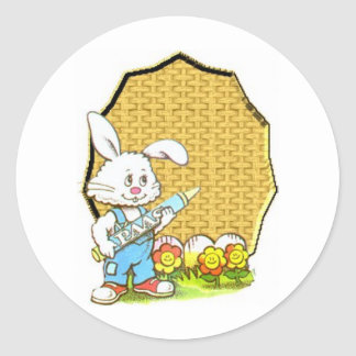 Easter bunny with crayon classic round sticker