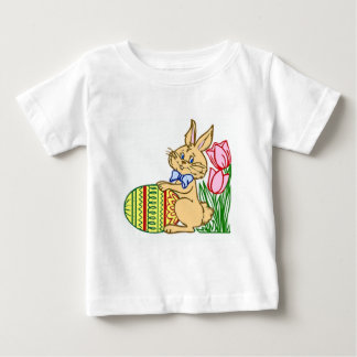 Easter Bunny with Egg and Tulips Baby T-Shirt