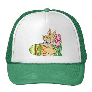 Easter Bunny with Egg and Tulips Trucker Hat