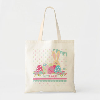 Easter Bunny with eggs greeting Budget Tote Bag
