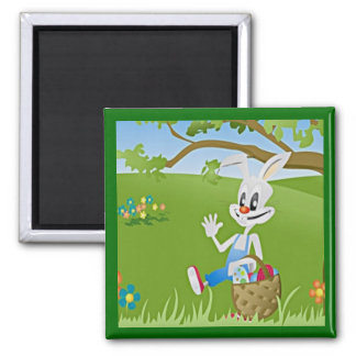 Easter Bunny with Eggs Refrigerator Magnet
