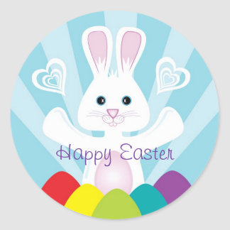 Easter Bunny with Rainbow Eggs, Happy Easter Classic Round Sticker