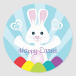 Easter Bunny with Rainbow Eggs, Happy Easter Round Sticker