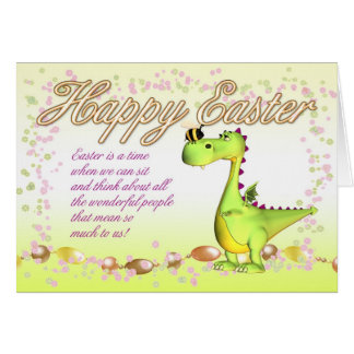 Easter Card - Cute Little Dragon And Bumble Bee