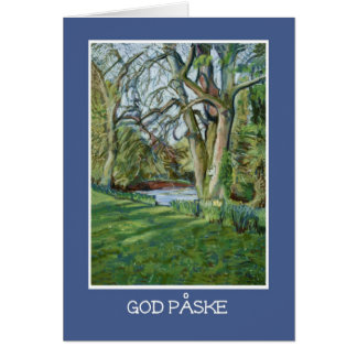 Easter Card, Danish Greeting, Riverbank in Spring Card