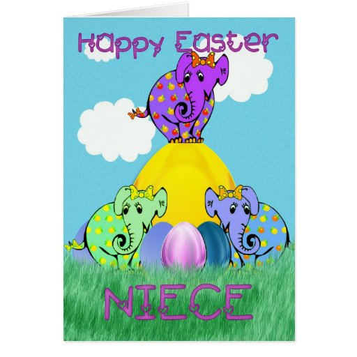 Easter card for Niece with elephant on an Easter e