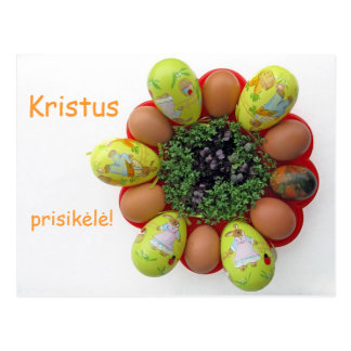 Easter Card Lithuanian text Kristus Prisikele Postcard