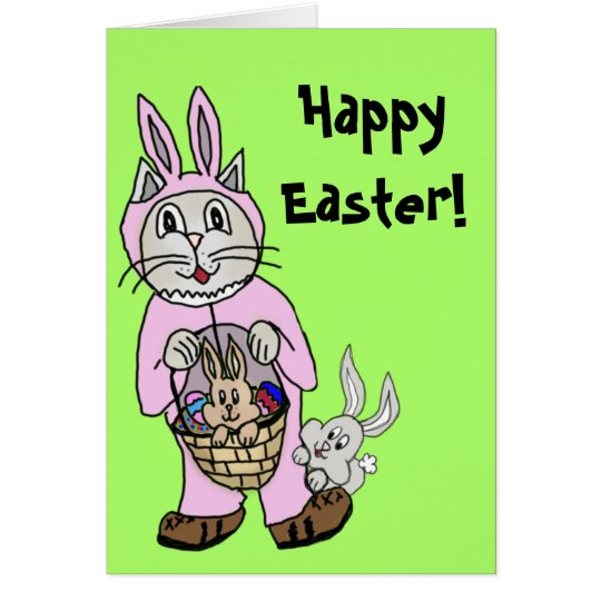 Easter Card with a Cat in bunny suit