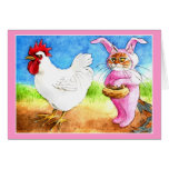 Easter cat in bunny suit and rooster