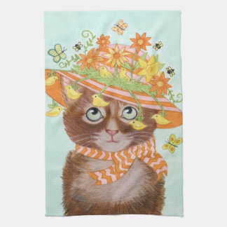 Easter Cat in Easter Bonnet with Butterflies Tea Towel