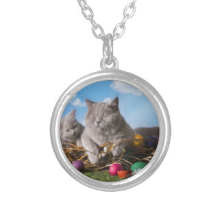 Easter Cats Silver Plated Necklace