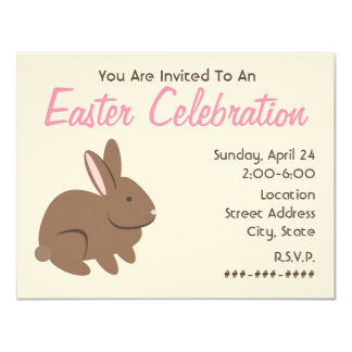 Easter Celebration - Brown Rabbit 11 Cm X 14 Cm Invitation Card
