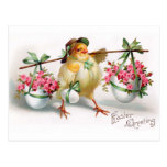 Easter Chick and Flowers Postcards