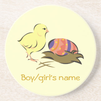 Easter chick and painted egg coaster