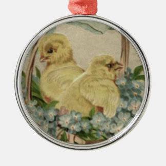 Easter Chick Basket Blue Forget Me Not Christmas Ornament