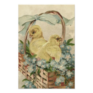 Easter Chick Basket Blue Forget Me Not Photo Print