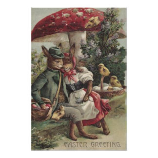 Easter Chick Bunny Couple Colored Egg Mushroom Poster