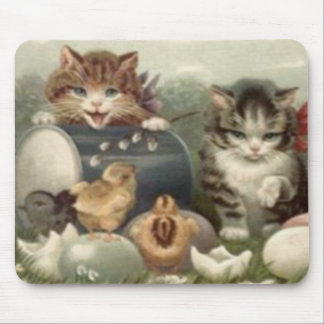 Easter Chick Colored Egg Kitten Cat Mouse Pad