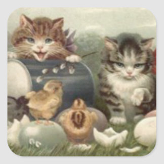 Easter Chick Colored Egg Kitten Cat Square Sticker