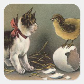 Easter Chick Egg Cat Kitten Square Sticker