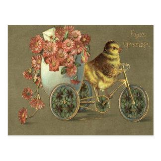 Easter Chick Egg Chrysanthemum Bike Love Letter Postcard