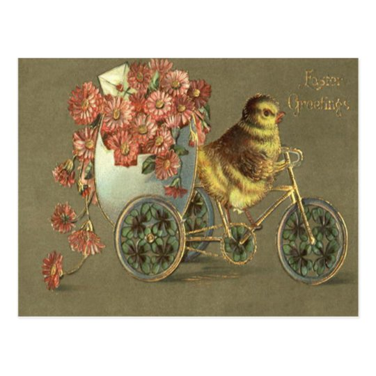 Easter Chick Egg Chrysanthemum Bike Love Letter Postcard