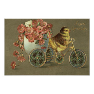 Easter Chick Egg Chrysanthemum Bike Love Letter Poster