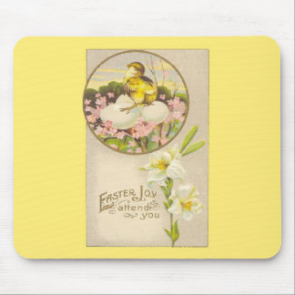 Easter - Chick & Eggs Up a Tree - Antique Postcard Mouse Mat