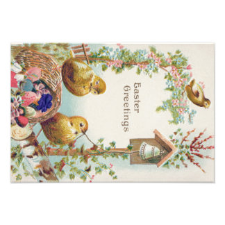 Easter Chick Forget-Me-Not Bell Photographic Print