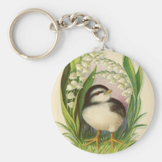 Easter Chick Lily Of The Valley Basic Round Button Key Ring