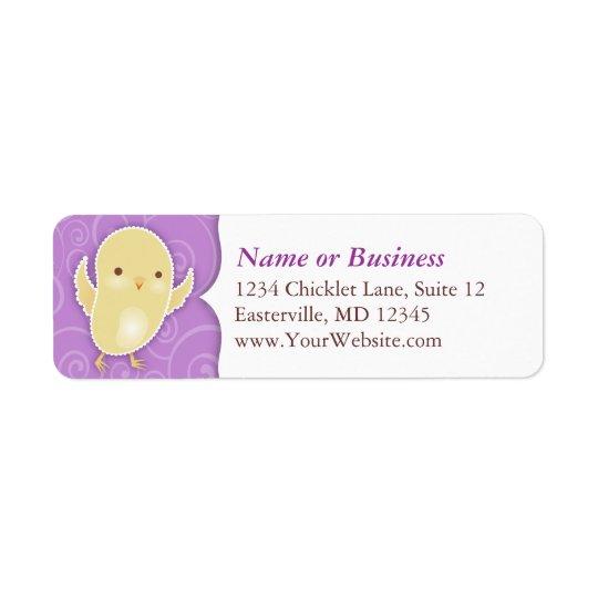 Easter Chick on Purple - Custom Address Labels