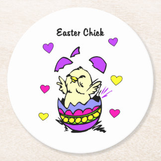 Easter Chick Round Paper Coaster