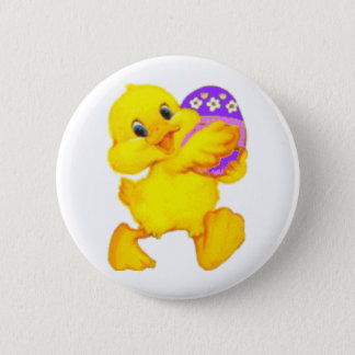 Easter Chick With Egg 6 Cm Round Badge