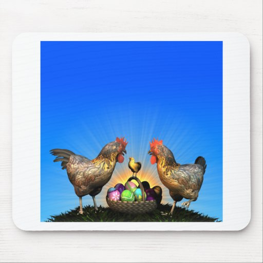 Easter Chicken Family with Easter Eggs Mousepads