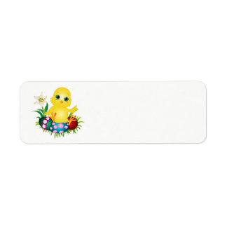 Easter Chicken with colorful eggs Return Address Label