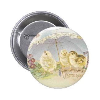 easter chicks bright 6 cm round badge