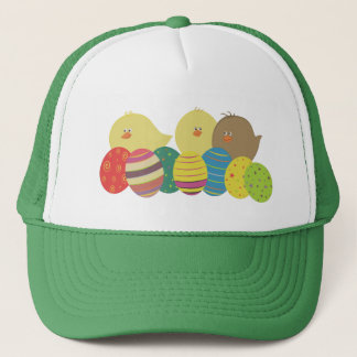 Easter Chicks Cartoon Cute Colorful Ornate Eggs Trucker Hat