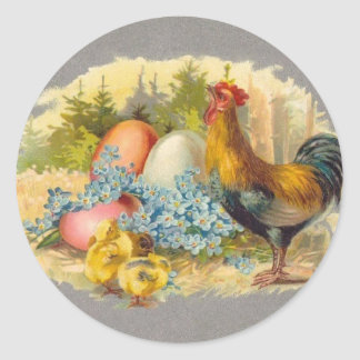 Easter - Chicks, Eggs & Rooster - Antique Postcard Classic Round Sticker